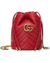 Gucci GG Marmont Mini Bucket Bag - Red
