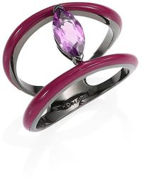 Etho Maria Marquise Amethyst 18k Yellow Gold Ring - Purple