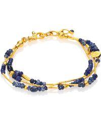 Gurhan - Delicate Rain Blue Sapphire & 24k Yellow Gold Triple-strand Bracelet - Lyst