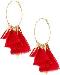 Gas Bijoux - Feather Hoop Earrings - Lyst