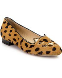 Charlotte Olympia - Leopard-print Calf Hair Kitty Flats - Lyst