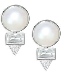Anzie - Cleo Spear Baguette Earrings - Lyst