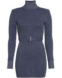 Hervé Léger Glitter Rib-knit Belted Mini Turtleneck Sweater Dress - Blue
