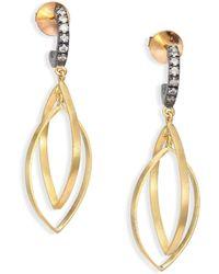 Rene Escobar - Diamond, 18k Yellow Gold & Silver Dangle Drop Earrings - Lyst