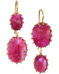 Renee Lewis - 18k Yellow Gold & Natural Ruby Drop Earrings - Red - Lyst