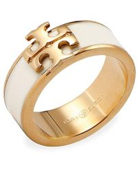 Tory Burch Kira Enamel Logo Ring - Metallic