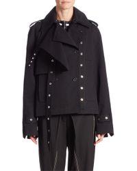 Proenza Schouler Short Cotton Trench Coat - Black