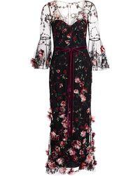 Marchesa notte 3/4 Sleeve V-neck 3d Floral Dress - Black