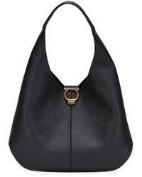 Ferragamo Margot Leather Hobo Bag - Black