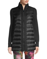 Moncler - Mixed Media Long Sleeve Quilted Cardigan Jacket - Lyst