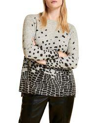 Marina Rinaldi Marina Sport Adibire Leopard Wool & Alpaca-blend Sweater - Gray