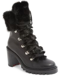 Christian Louboutin - Fanny Leather Fur-trim Red Sole Combat Boot - Lyst
