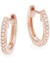 Saks Fifth Avenue 14k Gold & Diamond Huggie Hoop Earrings - Metallic