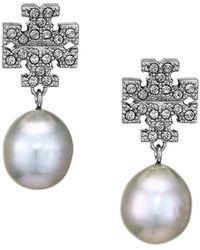 Tory Burch Silvertone, Crystal & Faux-pearl Logo Drop Earrings - Metallic