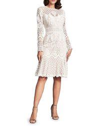 Tadashi Shoji Illusion Lace Long-sleeve A-line Dress - White