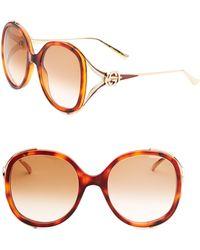 c93d0165842 Lyst - Gucci Women s Urban 63mm Round Sunglasses - Gold in Metallic