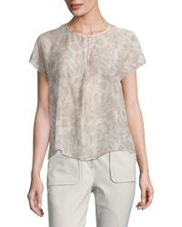 a40f01cfba6bf Becken - Women s Center Pleat Floral Voile Top - Blush Floral - Size 10 -  Lyst