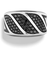 David Yurman - The Graphic Cable Black Diamond & Sterling Silver Band Ring - Lyst
