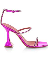 AMINA MUADDI - Gilda Embellished Metallic Leather Sandals - Lyst
