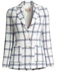 Rebecca Taylor Plaid Tweed Jacket - Blue