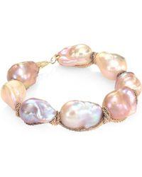 Jordan Alexander - 15mm Natural Baroque Freshwater Pearl & 18k Tri-tone Gold Bracelet - Lyst