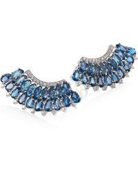 Hueb - Mirage Diamond & London Blue Topaz Ear Crawlers - Lyst