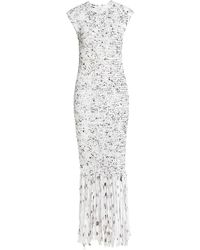Alejandra Alonso Rojas Fringe Trim Crochet Midi-dress - White