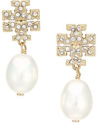 Tory Burch Goldtone, Crystal & Faux-pearl Logo Drop Earrings - Metallic