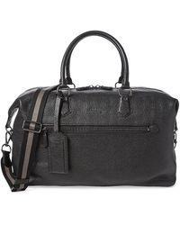 Polo Ralph Lauren Web Strap Pebbled Leather Duffel Bag - Black