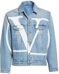 Valentino Denim Blouson Maxi Vlogo Jacket - Blue