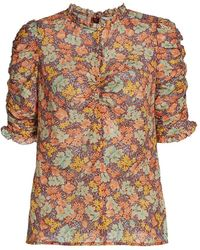 Veronica Beard Natuka Floral-print Ruched Blouse - Brown
