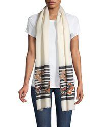 Janavi Butterflies On Stripes Wool & Silk Scarf - White