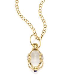 Temple St. Clair - Classic Rock Crystal, Royal Blue Moonstone & 18k Yellow Gold Charm - Lyst