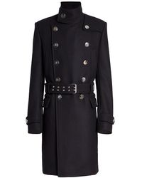 Balmain Officar Double-breasted Military Coat - Black