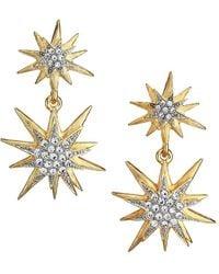 Kenneth Jay Lane 22k Goldplated Glass Crystal Star Drop Earrings - Metallic