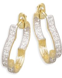 Jude Frances - Lisse Diamond Small Clover Hoop Earring - Lyst