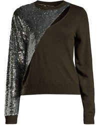 RTA Teagan Cutout Sequin Sweater - Green