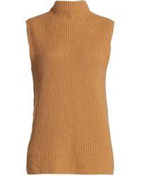 Halston Devin Mockneck Rib Sleeveless Sweater - Metallic