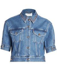 Chloé Recycled Stretch Denim Cropped Jacket - Blue