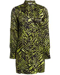 Ganni Stretch Silk Satin Tiger-stripe Shirtdress - Green