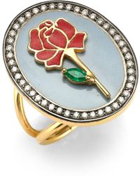 Holly Dyment Red Rose 18k Gold, Emerald & Diamond Ring - Metallic