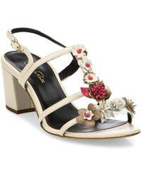 Oscar de la Renta - Flower Embellished Lambskin Leather Sandals - Lyst
