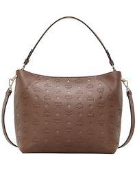 MCM Medium Klara Monogram Leather Hobo Bag - Brown