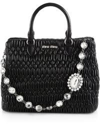 Miu Miu - Nappa Crystal Quilted Leather Tote - Lyst