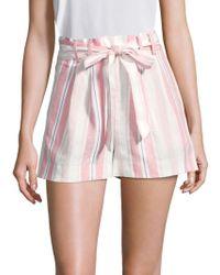 Parker - Sage Stripe Linen Shorts - Lyst