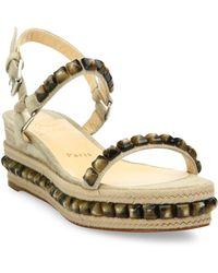 Christian Louboutin Cataclou Studded Suede Espadrille Platform Sandals - Natural