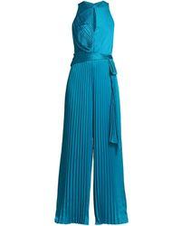 THEIA Satin Pleated Keyhole Jumpsuit - Blue