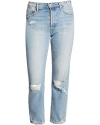 Mother The Tomcat High-rise Straight-leg Distressed Jeans - Blue