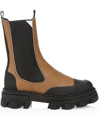 Ganni Lug-sole Leather Combat Boots - Brown