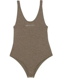 Burberry Stretch Cashmere Tank Logo Bodysuit - Brown
